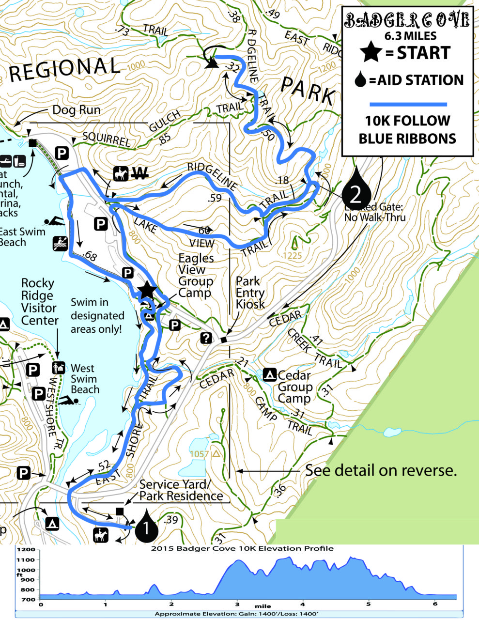 Badger Cove 10K Course Map and Elevation Chart