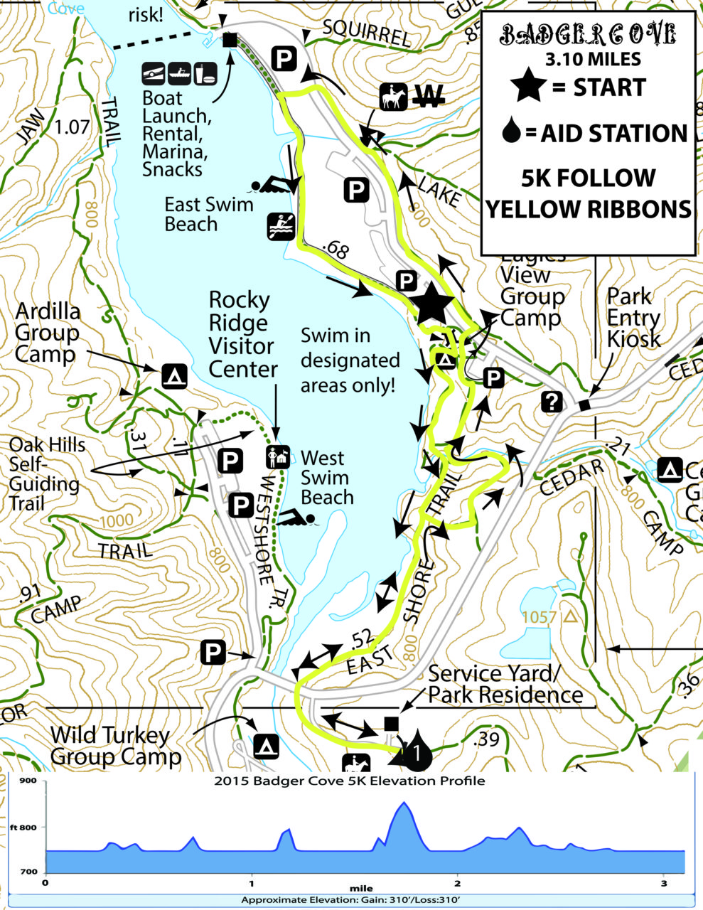 Badger Cove 5K Course Map and Elevation Chart